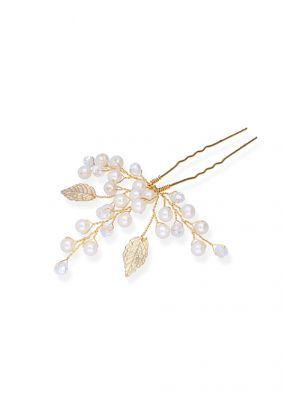 Sweet Leaves Hairpin | Gold & Ivory